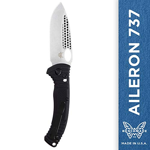 - Benchmade - Aileron 737 Tactical EDC Folding Knife with Two-Handed Tarani Open Made in USA, Drop-Point Blade, Plain Edge, Satin Finish, Black Handle