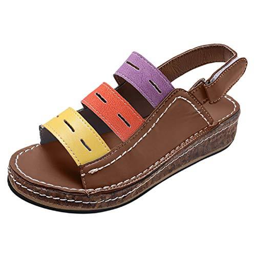 Women Soft Sandals,❤️FAPIZI Retro Closed Toe Versatile Flat Shoes Casual Comfy Breathable Walking Trekking Shoes Sandal
