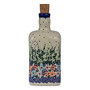 Traditional Polish Pottery, Handcrafted Ceramic Olive Oil or Vinegar Bottle 550ml, Boleslawiec Style Pattern, V.101.Daisy