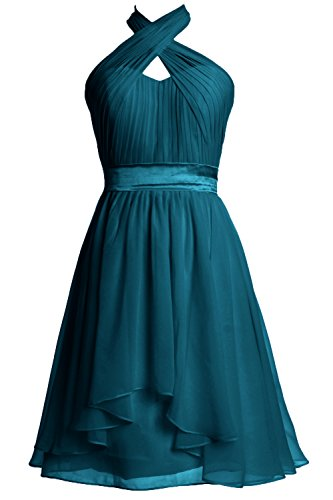 MACloth Women Halter Short Bridesmaid Dress Chiffon Cocktail Party Formal Gown Teal
