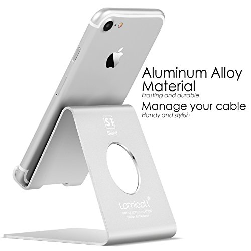 Cell Phone Stand, Lamicall iPhone Stand : Desktop Cradle, Dock For Switch, all Android Smartphone, iPhone 6 6s 7 8 X Plus 5 5s 5c charging, Universal Accessories Desk - Silver