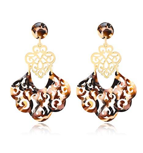 (YAHPERN Acrylic Earrings for Women Girls Statement Geometric Earrings Resin Acetate Drop Dangle Earrings Mottled Hoop Earrings Fashion Jewelry (B-Brown))