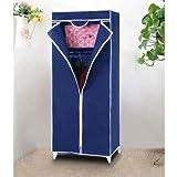 Saysha Single Door Foldable Collapsable Wardrobe Cupboard Storage Cabinate Almirah Rack - Blue