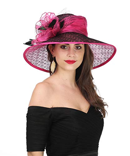 SAFERIN Women's Organza Church Kentucky Derby Fascinator Bridal Tea Party Wedding Hat (SL-Rose Black)