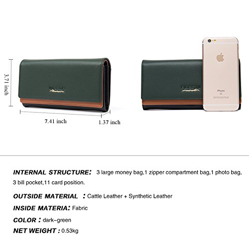 [Clearance] FIGESTIN Women Rfid Blocking Cowhide Leather Wallet With Zipper Large Capacity Credit Card Holder Evening Clutch Purse by FIGESTIN (Image #4)