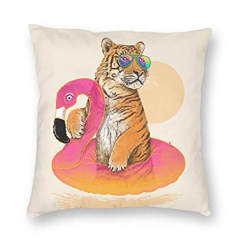 Private Bath Customiz Sunglasses Tiger Flamingo Swimming Water Ring Square Decorative Throw Pillow Case Cushion Covers Home Pillowcases 26 X 26 Inch