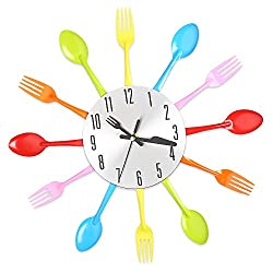 Multi-color Fork Spoon Wall Clock Kitchen Cutlery Kitchen Dining Room Pub Restaurant Home Decoration Silent Arabic Numerals
