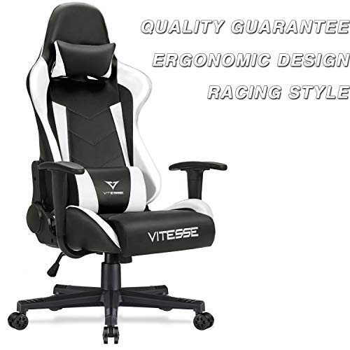 Vitesse Gaming Chair (Sillas Gaming) Ergonomic Computer Desk Chair High Back Racing Style Comfortable Chair Swivel Executive Leather Chair with Lumbar Support and Headrest (White)