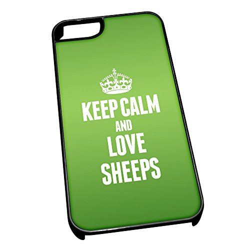 Nero cover per iPhone 5/5S 2483verde Keep Calm and Love Sheeps
