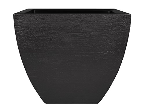 Tusco Products MSQ16BK Modern Square Garden Planter, 16-Inch, Black ()