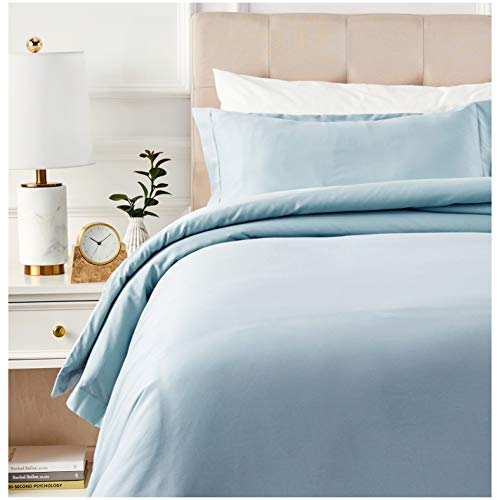 AmazonBasics 400 Thread Count Cotton Duvet Cover Set with Sateen Finish – Twin, Smoke Blue