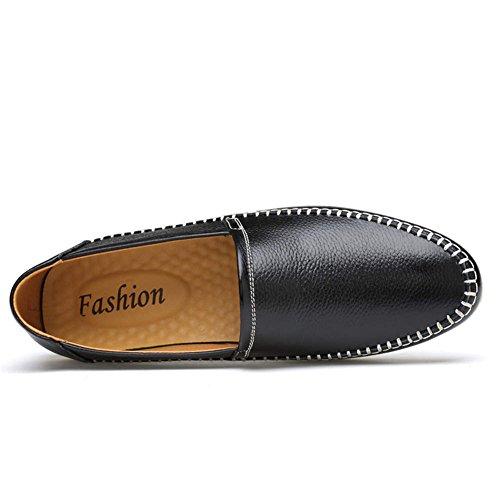 para Mocasines de Conducción ailishabroy Zapatos Casual Hombre de Negro Piel 6awqWSHFx