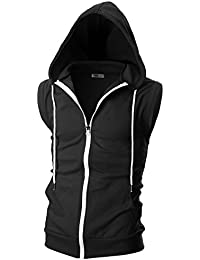 Mens Slim Fit Sleeveless Lightweight Zip-up Hooded Vest with Zipper Trim
