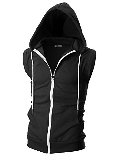 OHOO Mens Slim Fit Sleeveless Lightweight Zip-up Hooded Vest with Single Slide Zipper/DCF012-BLACK-L