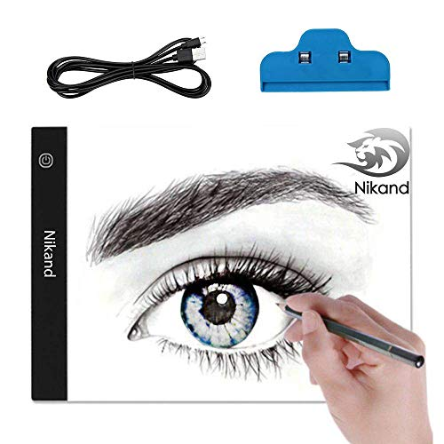 """Nikand LED Light Box for Tracing, Best Ultra-Thin Painting A4 Light Table for Artists, Drawing, Sketching, animations (9""""x13"""") Portable LED Light Pad USB Power Artcraft Tracing"""