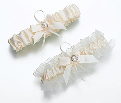 Set of 2 Ivory Pearl Flower and Rhinestones Wedding Garters