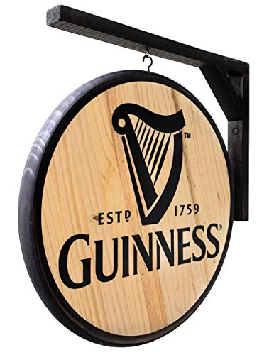 Guinness Sign - Classic 15 inch Dia, Double-Sided Pub Sign - Includes Wood Hanging Bracket -