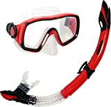 Deep Blue Gear Montego Diving Mask and Semi-Dry Snorkel Set, Adult, Red