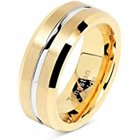 100S JEWELRY Tungsten Rings for Mens Gold Wedding Bands Silver Grooved Two Tone 8mm Wide Size 8-16