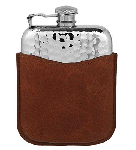 Premium Pewter Flask with Leather Pouch/Captive Top ~ Hammered by Prince of Scots