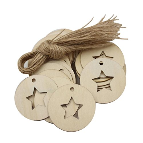 Laser Cut Shapes - Mybbshower Wooden Circle with Star Shapes Gift Tags with Twine Laser Cut Unfinished Wood Pendants for Christmas Pack of 36