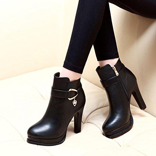 ZHZNVX Las nuevas botas con grosor irregular botas desnudo elegante cremallera lateral botas botas hembra black