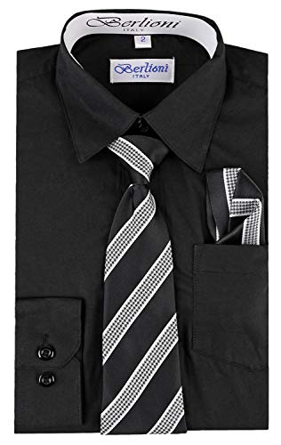 (Berlioni Boy's Dress Shirt, Necktie, and Hanky Set - Many Color and Pattern Combinations Black/Black Size 4)