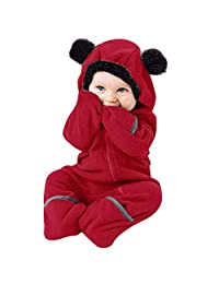 GoodLock Baby Boys Girls Fashion Hooded Jumpsuits Infant Toddler Cartoon Ears Hoodie Zip Romper Jumpsuit Clothes