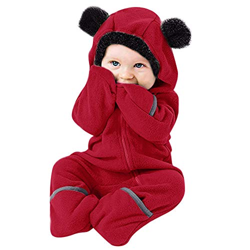 WUAI Baby Clothes Infant Toddler Baby Cartoon Ears Hoodie Romper Christmas Hooded Romper Jumpsuit Outfits(Red ,0-3 Months) -