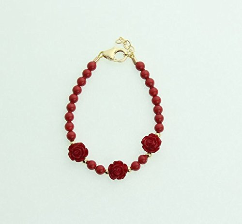 Crystal Dream Elegant Red Flowers with Red Simulated Pearls and 14KT Gold-filled Beads Luxury Child Girl Keepsake Bracelet - Pearl Gold Bracelet Childrens 14kt