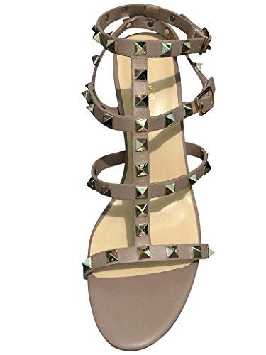 Kaitlyn Pan Studded Block Heel Open Toe Sandal Nude free shipping new arrival Ro4Joi1jk
