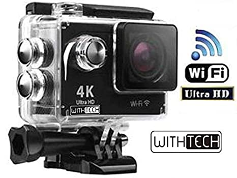WITHTECH WiFi Cámara Deportiva Acción 1080P Full HD 2.0 LCD Pantalla Cámara Impermeable Baterías 900 mAh 120 Grados Gran Ángulo Sumergible 30m y ...