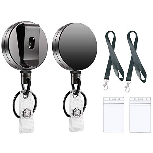 2 PCS Heavy Duty Retractable ID Badge Holder with Belt Clip Key Ring, Hauserlin Metal ID Badge Holder with 2 PVC ID Badge Holders & Lanyard for Name Card Keychain[Steel Wire Cord Reel Up to 27.5IN