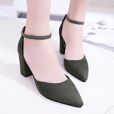 LvYuan Mujer Sandalias PU Verano Vestido Hebilla Tacón Robusto Negro Gris Verde 5 - 7 cms Black