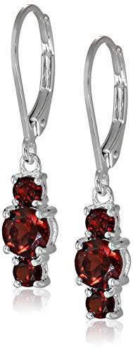 Sterling Silver Genuine Garnet 5mm and 3mm Three Stone January Birthstone Leverback Dangle Earrings