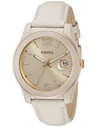 Fossil Women's CE1089 Perfect Boyfriend Three-Hand Date Leather Watch – Toasted Almond