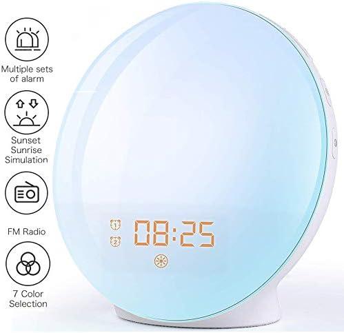 Wake Up Light Despertador Luz - 2020 LED Despertador Amanecer Simulación de Amanecer y Anochecer, 2 Alarmas, 7 Luces de Colores, 20 Niveles de Brillo, Función Snooze, 7 Sonidos Naturales, Radio FM
