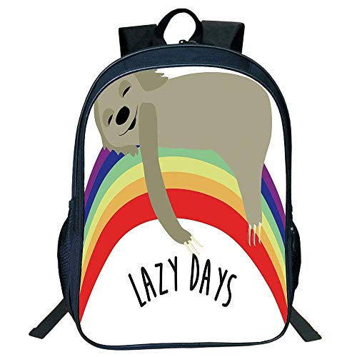DKFDS Backpacks Unisex School Students Black Sloth,Lazy Days