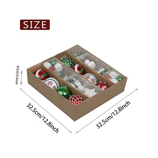 Valery Madelyn Palle di Natale 60 Pezzi di Palline di Natale, 3-4 cm Collezione Classica Ornamenti di Palle di Natale Infrangibili Rosso Verde e Bianco per la Decorazione Dell'Albero di Natale 3 spesavip