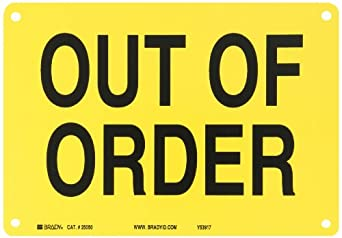 """Brady 25050 10"""" Width x 7"""" Height B-401 Plastic, Black on Yellow Sign, Legend """"Out Of Order"""""""