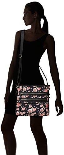 Crossbody della Fiori Nero Bueno Zipper Canvas rosa Bueno Triple California pYwdpBq