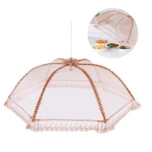 Lace Food Cover Folding Gold Fly Mosquito Net Tent Food Umbrella Cover Round Food Cover Mesh Screen Food Cover for Covering Food