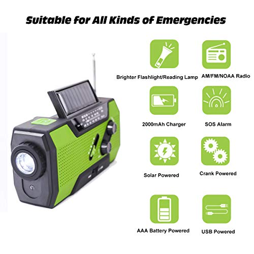 Emergency Weather Solar Crank AM/FM NOAA Radio, with 2000 mA Rechargeable Power Reading Lamp Led Flashlight SOS Alarm USB Charging Multi-Function Design for All Kinds of Emergency Situations. by JU FENG (Image #1)