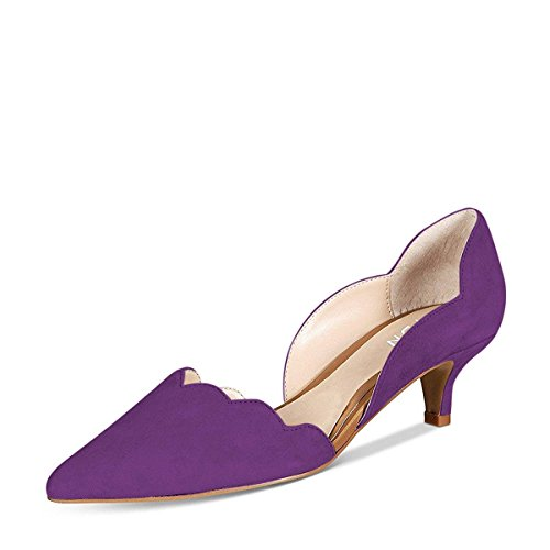 YDN Women Classic Pointy Toe Kitten Pumps Slip-on Suede Low Heel D'Orsay Shoes Formal Purple 11 - Purple Tall Shoes