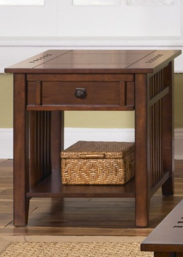 Prairie Hills Rectangular End Table with Drawer - Satin Cherry