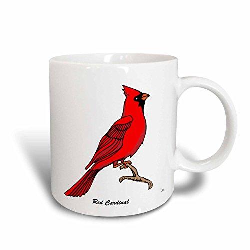 3dRose mug_2 5559_2 Birds Red Cardinal 3 on White Ceramic Mug, 15-Ounce (Cardinal Pic)