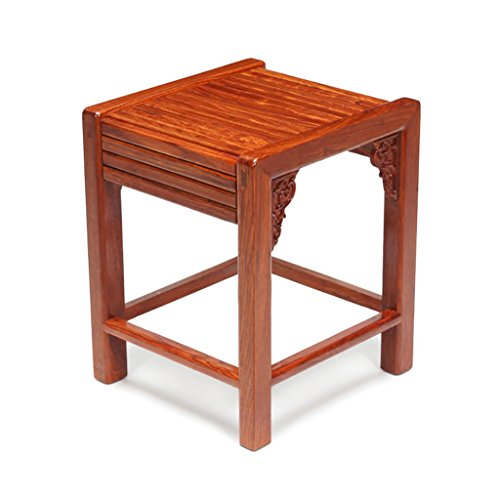ZHANGLIXIANG Stool Chinese Ming-Style Chaise Summer Living Rectangular Stools Carved Mahogany Wood Small Stool Changing His Shoes Sofa Stool (29.8 28 35.8cm) stools ()