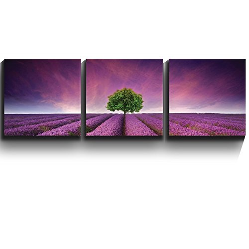 3 Square Panels Contemporary Art Lavender field rows and a lone tree Three Gallery ped Printed Piece 6 x 3 Panels