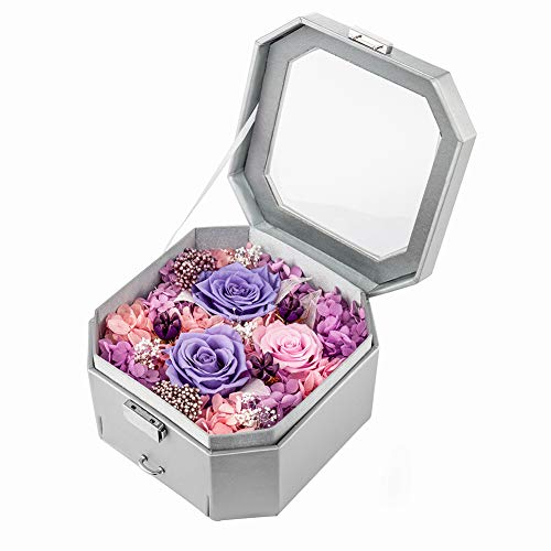 (Puto Preserved Flower Rose Arrangement in Jewelry Box for Valentine's Day, Mother's Day, Thanksgiving Day, Christmas, Birthday, Anniversary (Silver))