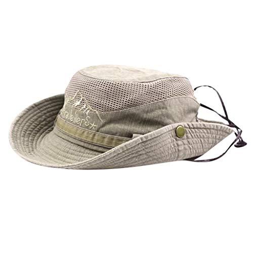 OldSch001 Windproof Fishing Hats Wide Brim Safari Cap Protection Hat Premium Outdoor Mesh Cap for Men and Women(Khaki,Free Size)